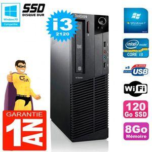 UNITÉ CENTRALE + ÉCRAN PC Lenovo M92p SFF Core I3-2120 8Go Disque 120Go S