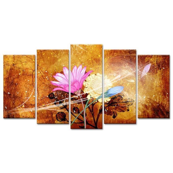 Thème : Fleurs et botanique - Tableau Déco Design Composition Florale - 150x80 cm - MulticouleursTABLEAU - TOILE