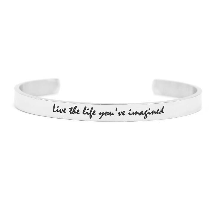 Bracelet vie des femmes Cuff Bracelet pour Inspirational blanc Gravé bijoux en acier inoxydable Live The VCIH4