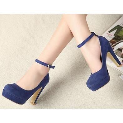 La nouvelle épaisseur avec des chaussures à talons hauts chaussures rondes Suede Shoes femmes dans la carrière, bleu 35