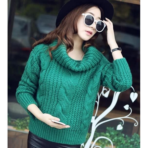 Farleen Pull Col Roulé Femme Jacquard Tricot Grosse Maille Manche Longue  Hiver TU Vert 5ee5bfd8c2f