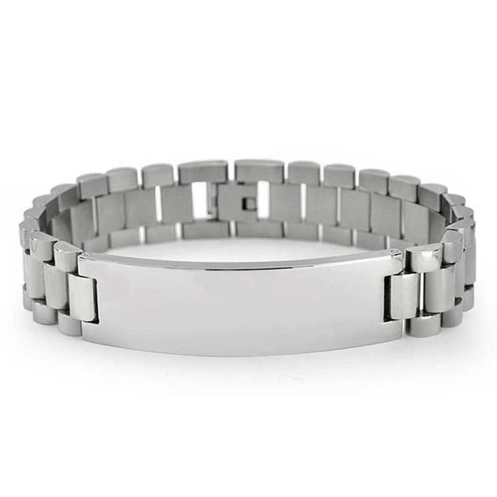 En Acier Inoxydable Liens Mens Bracelet DIdentification 8,5 Pouces