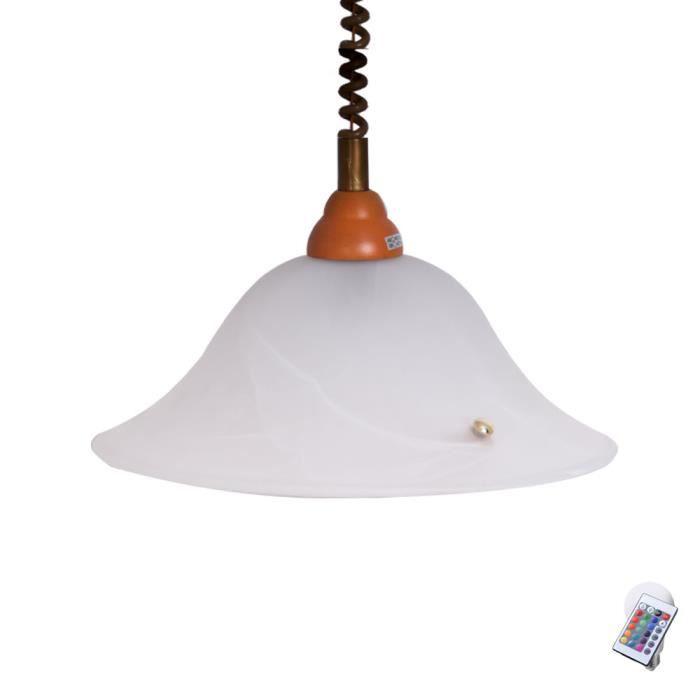 Lampe plafonnier bois lumière réglable variateur télécommande en ...
