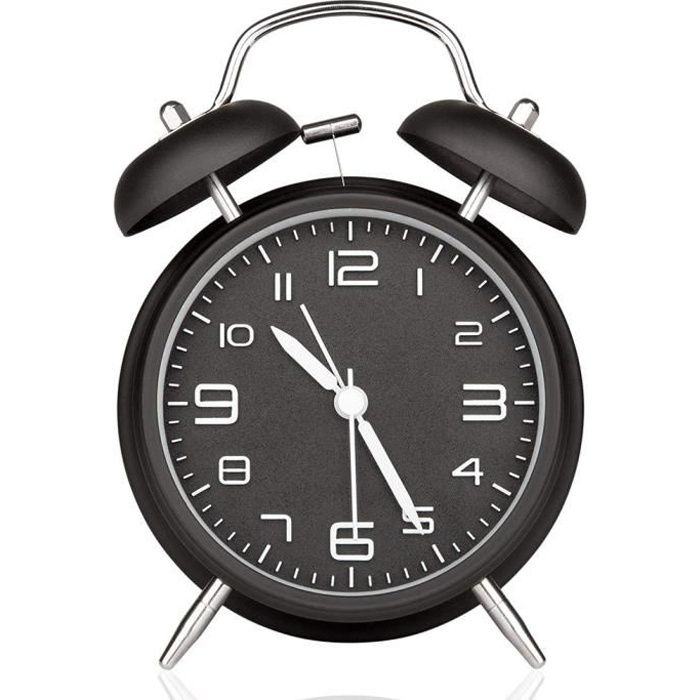 Réveil Double Cloche Avec Veilleuse, Alarme Forte, Analogique Grand Cadran De 4 Pouces, Sans Ticking Et Bruit (noir)