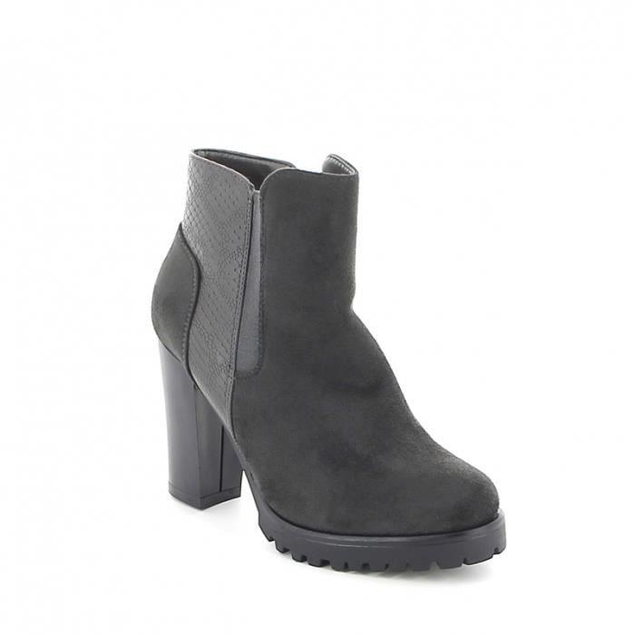 Boots à talon en daim effet croco - Gris