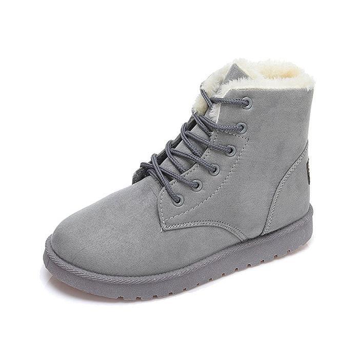 Tomwell Bottes pour Femme Hiver Automne Chaudes Bottines Laçage Chaussures Flats Snow Boots Footwear 0ELWMTv