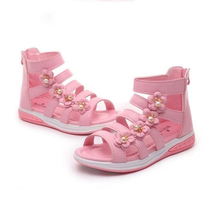 XZ885B9XZ885B9Nouveau tout-petits bébés filles Sandales PU Chaussures en cuir souple Bas Princesse Little Girls Sandales