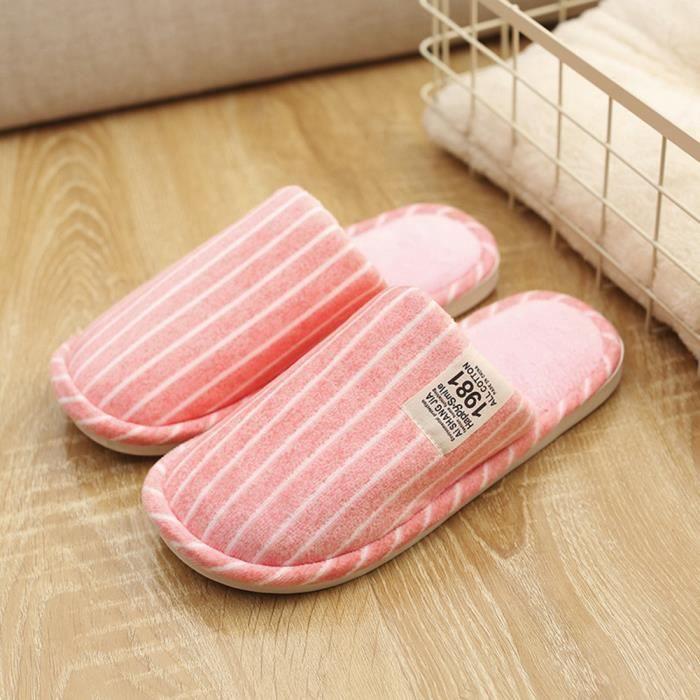 Napoulen®Chaussons d'hiver à rayures intérieures anti-dérapantes chaudes ROSE-SJF71021731PK
