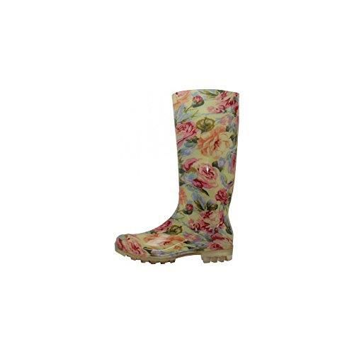 Ladies Neutral Floral Printed Lightweight Waterproof Rain Boots, 13 1-4 Inches Y8RUY Taille-40