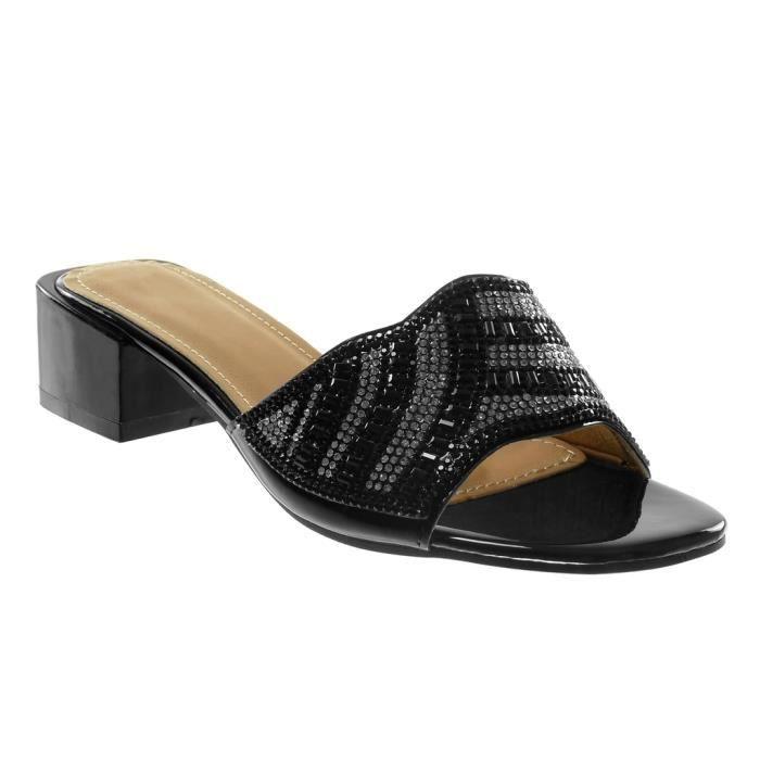 Angkorly - Chaussure Mode Escarpin Decolleté femme verni multi-bride grainé Talon haut bloc 9 CM - Bordeaux - 66602 T 38 W8RIi4