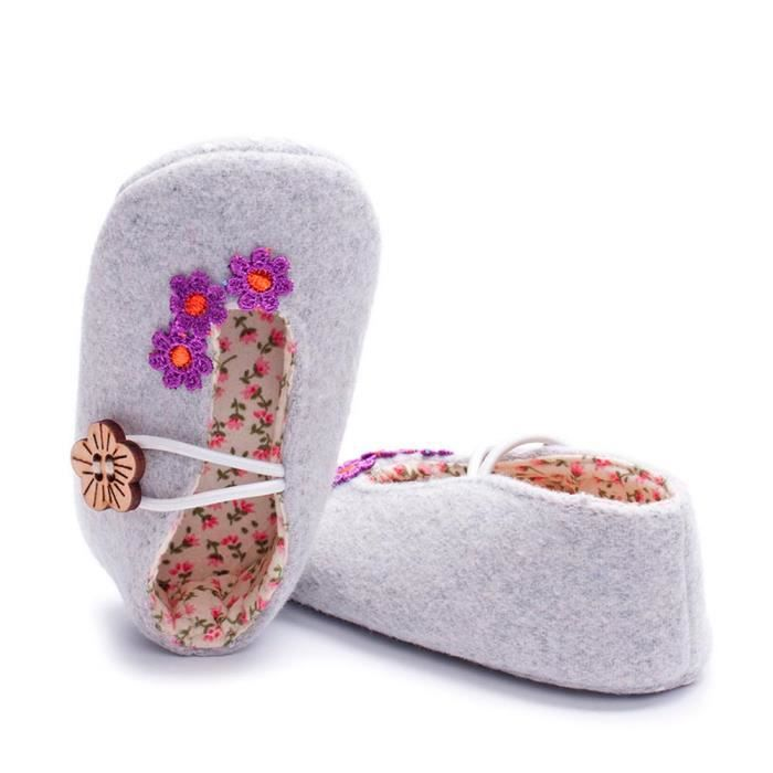 BOTTE Nouveau-né nourrisson bébé filles garçons crèche chaussures à semelle souple anti-dérapant sneakers@GrisHM E6nHwk