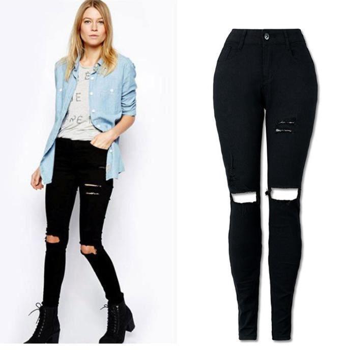 Femmes Cool déchiré genou Cut Skinny Jeans Long Pantalon Slim Pencil  Pantalons Noir ad39095c6f18