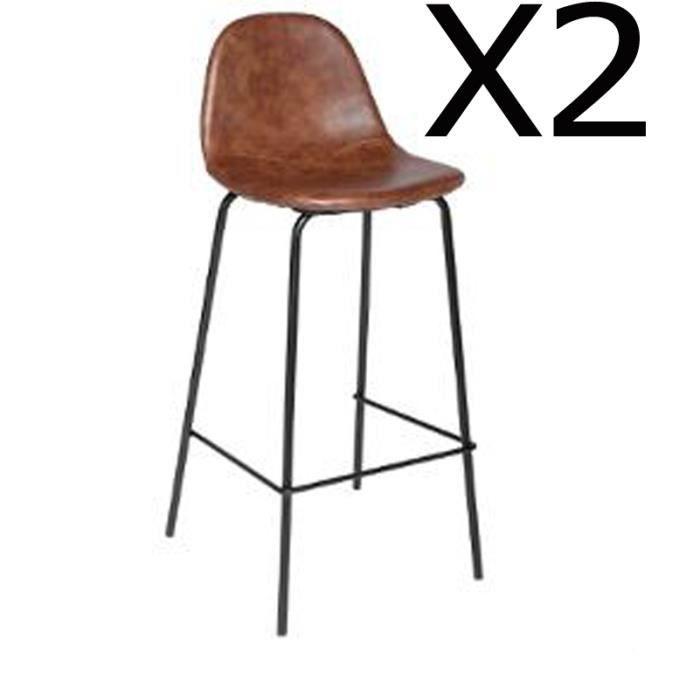 Lot De 2 Tabourets De Bar Pu Coloris Marron Dim L 44 X L 42 X