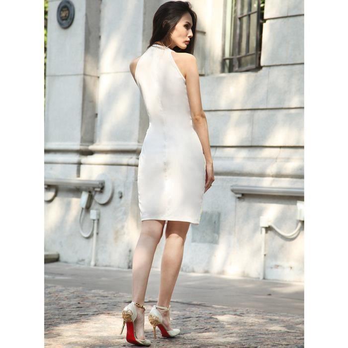 Channy® Mode Femme Robe dété en Floral Imprimé Robe de Soirée Sans Manche - BLANC