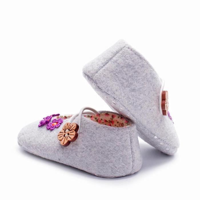 BOTTE Chaussures bébé garçon fille nouveau-né crèche chaussures à semelle souple@GrisHM Wl8ETliI