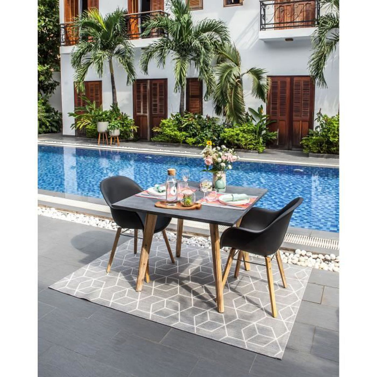 SALON DE JARDIN  Ensemble repas de jardin 1 table carrée et 2 faute