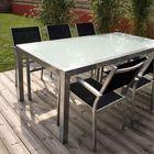 Table En Alu Type Brossé Et Verre 180X105 Cm - Achat / Vente table ...