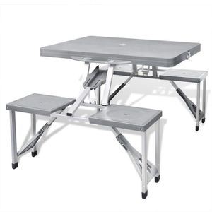TABLE DE CAMPING P28 Jeu de table de camping pliable avec 4 taboure