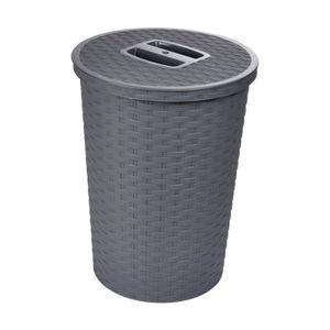 POUBELLE - CORBEILLE Poubelle avec couvercle tressé 23x30,5 cm 10 L Gri