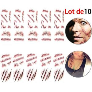 TATOO - BIJOU DE CORPS Fausse Cicatrice de   Halloween Lot de 10 Tatouage