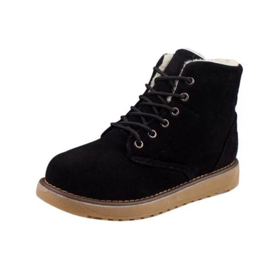 Les femmes hiver chaud en velours plat avec lacets Bottes de neige Chaussures cheville qinhig6701 Noir Noir - Achat / Vente botte