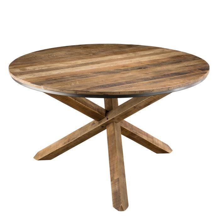 Table à manger ronde pieds croisés - Teck recyclé acacia...