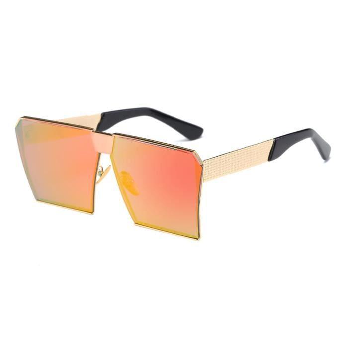 Lunettes de soleil mixte homme et femme polarisées marque de luxe sunglasses fashion Golden/Orange rouge