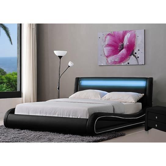 Lit design led noir 140 achat vente lit complet lit for Lit design complet