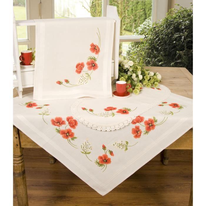 nappe broder point de croix arri re de tige motif floral 80 x 80 cm motif coquelicots. Black Bedroom Furniture Sets. Home Design Ideas