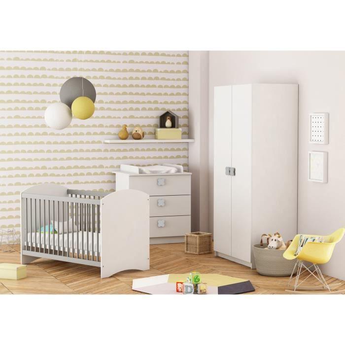 Clover chambre b b compl te lit 60x120 cm armoire commode langer blanc achat vente - Chambre complete de bebe ...