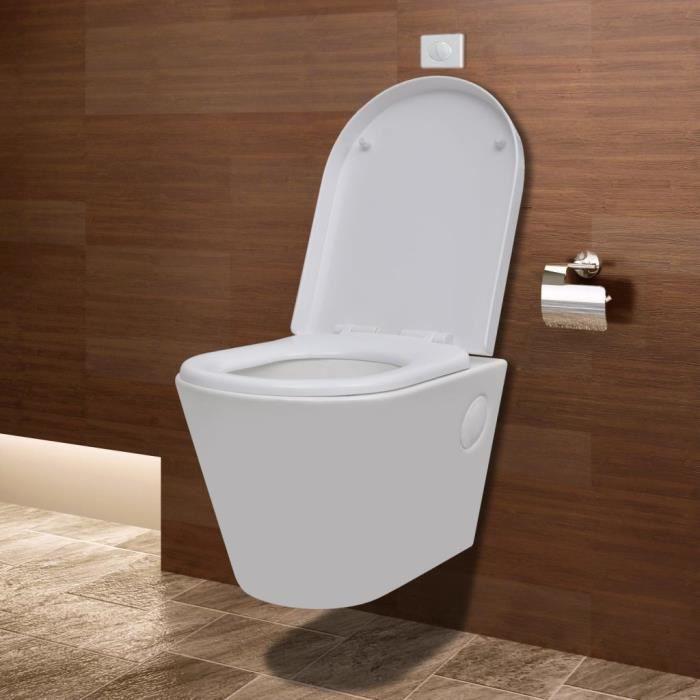 Toilette suspendue au mur avec réservoir caché Céramique Blanc ...