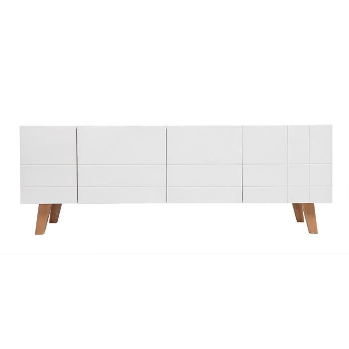 Meuble TV design laqué blanc mat et bois ADORNA - Achat / Vente ...