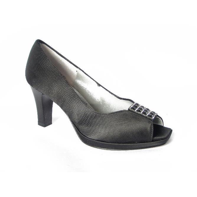 Scarpa donna elegante in tessuto raso colore nero, con tacco 7cm. e plateau 1cm.-5221