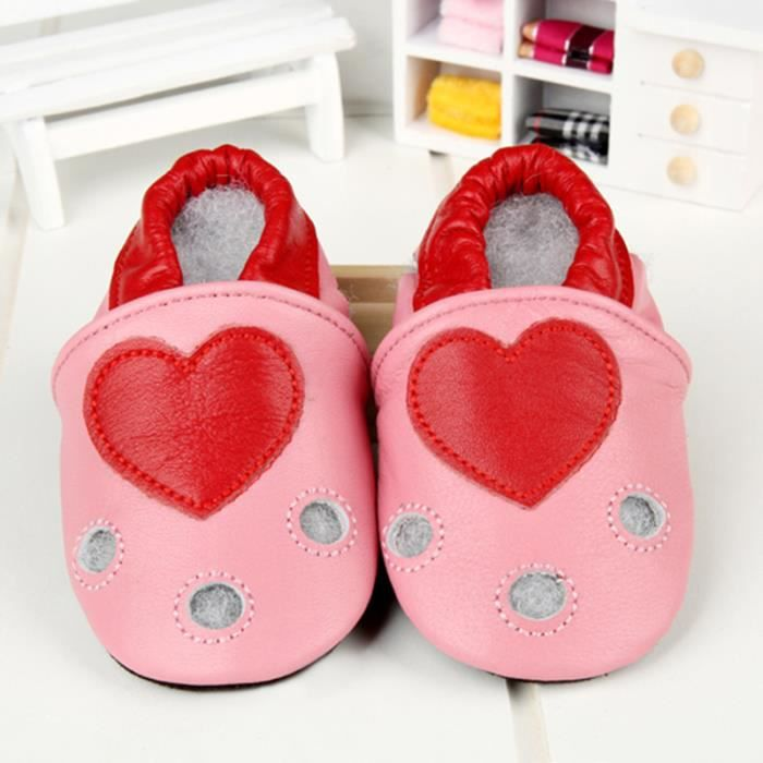 chaussures de bébé doux bambin Chaussons Bébé en Cuir Doux Amour rose CVjgnG