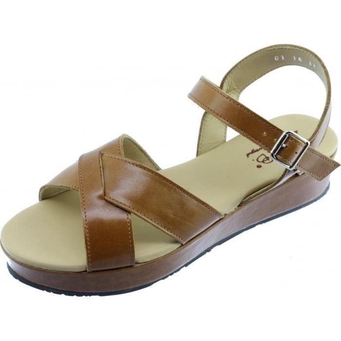 MITO - sandales compensée légère et stable chaussures confort Femme petites pointures tailles marque Bella.B cuir marron gold