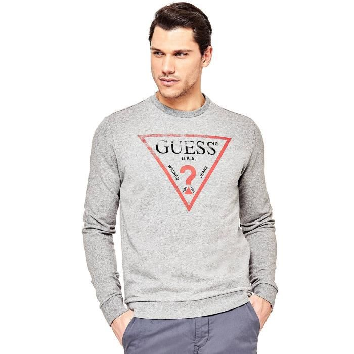 Guess Sweat-Shirt Homme Logo M81Q00 Gris Gris Gris - Achat   Vente ... 6ba90e965fb