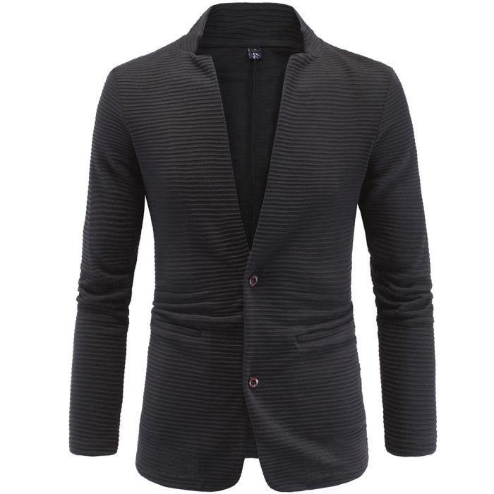 VESTE DE COSTUME pour homme - style casual - sans col - design original-  deux boutons - noir 32d602f4370b