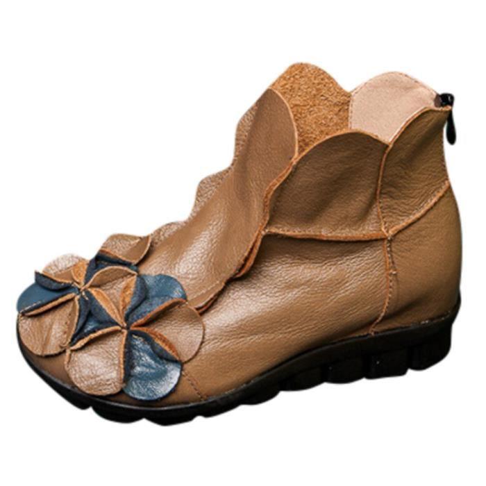 Martin cuir Cousu décontractée Kaki ethnique style Chaussures Bottes en Femmes Fleurs main 5jL4AR
