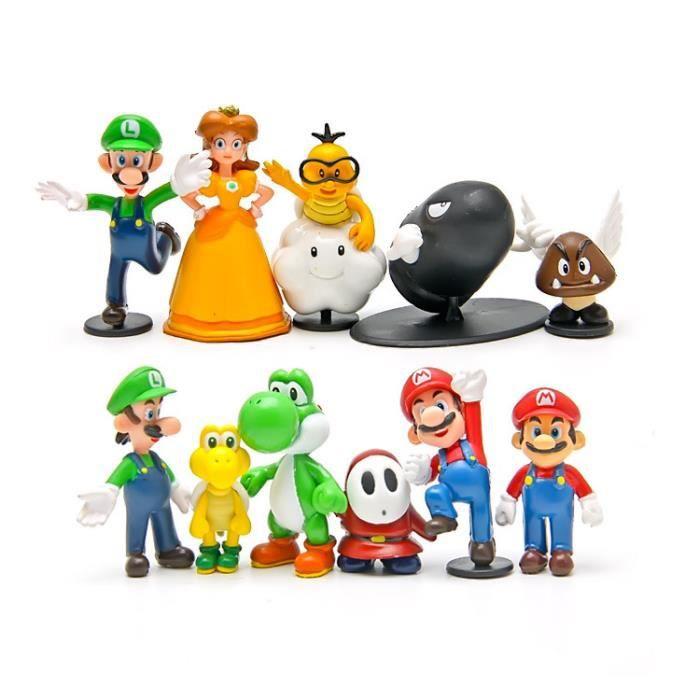 12pcs Super Mario Princesse Yoshi Modele De Poupee De Bande Dessinee