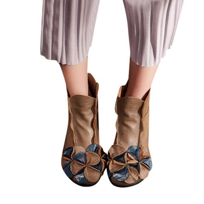Martin Ethnique Main Femmes Cousu Cuir Style Bottes En Fleurs Décontractée Chaussures Kaki UtXqYwx7X