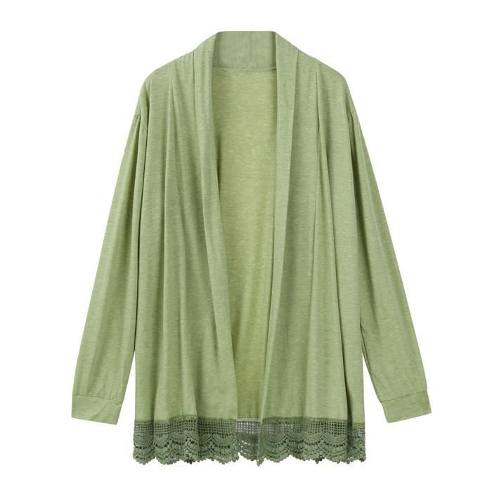 Avant En yll882523gn Manches Ouvert À Cardigan Kimono Dentelle Vert Hauts Manteau Longues Femmes nST6gqwpS