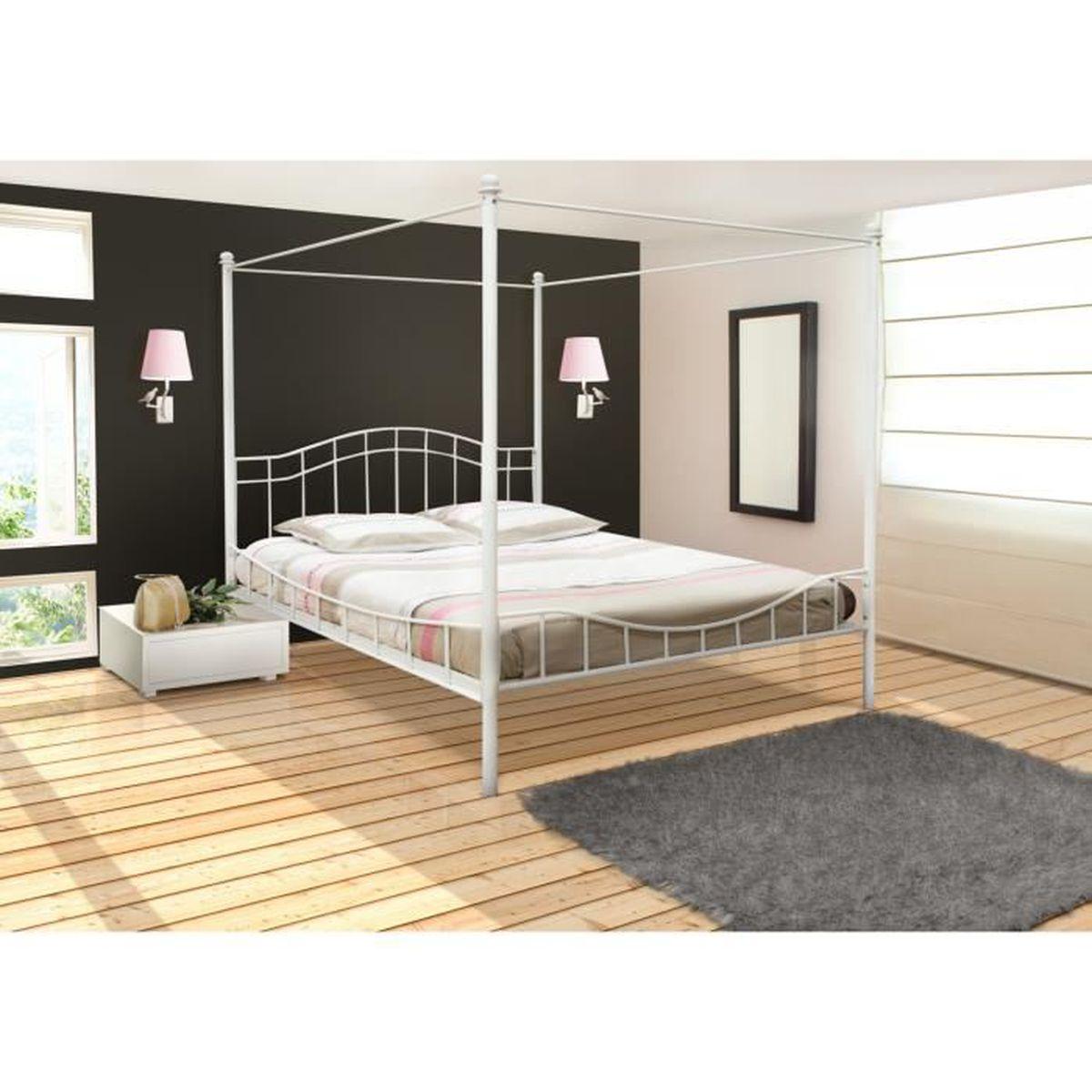 lit à baldaquin 2 personnes 160x200 cm blanc avec sommier - achat