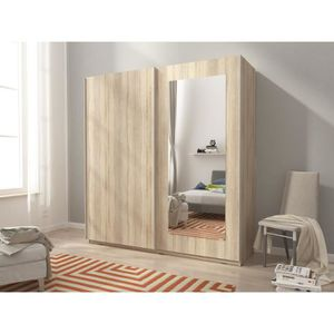 ARMOIRE DE CHAMBRE Armoire de chambre avec miroir 2 portes coulissant