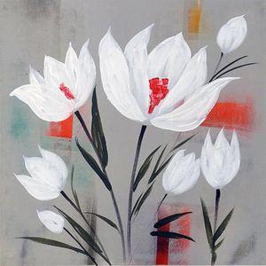 TABLEAU - TOILE FLEURS BLANCHES Toile peinte 50x50 cm Blanc, rouge