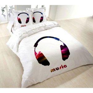housse de couette music achat vente housse de couette music pas cher cdiscount. Black Bedroom Furniture Sets. Home Design Ideas