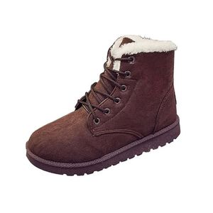 Tomwell Femme Hiver Suede Neige Cheville Flat Boots Chaudes Fourrure Chaussures Lace Up Sneaker bZO3Pw6z