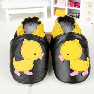 chaussures de bébé doux bambin Chaussons Bébé en Cuir Antidérapant Tracteur noir exC5B