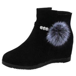 BOTTE 6495@ Femmes Suede Hairball Compensées bout rond C