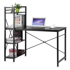 BUREAU  Table d'ordinateur PC avec 4 étagères bibliothèque