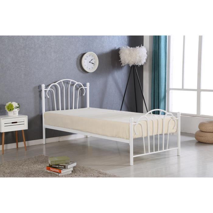 Métal blanc - l 90 x L 190 cm x H 99 cm - Tête de lit en arabesque + sommier à lattes inclusSTRUCTURE DE LIT